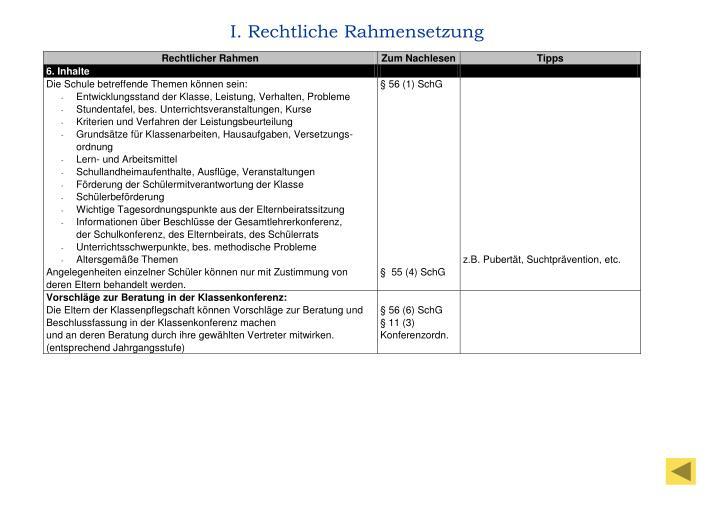 I. Rechtliche Rahmensetzung