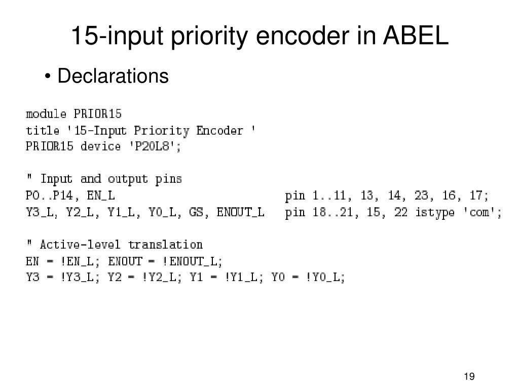 15-input priority encoder in ABEL
