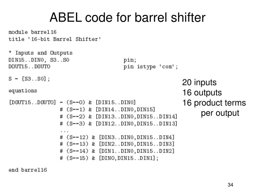 ABEL code for barrel shifter