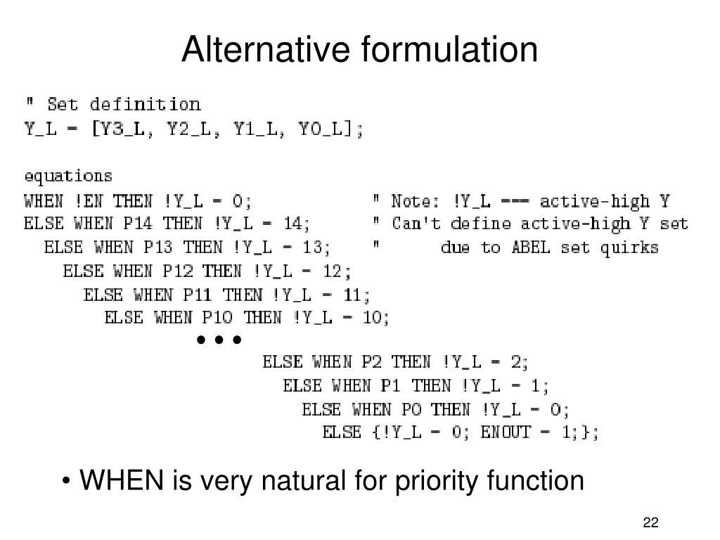 Alternative formulation