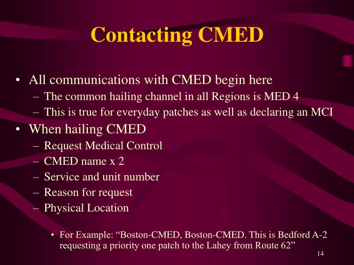 Contacting CMED