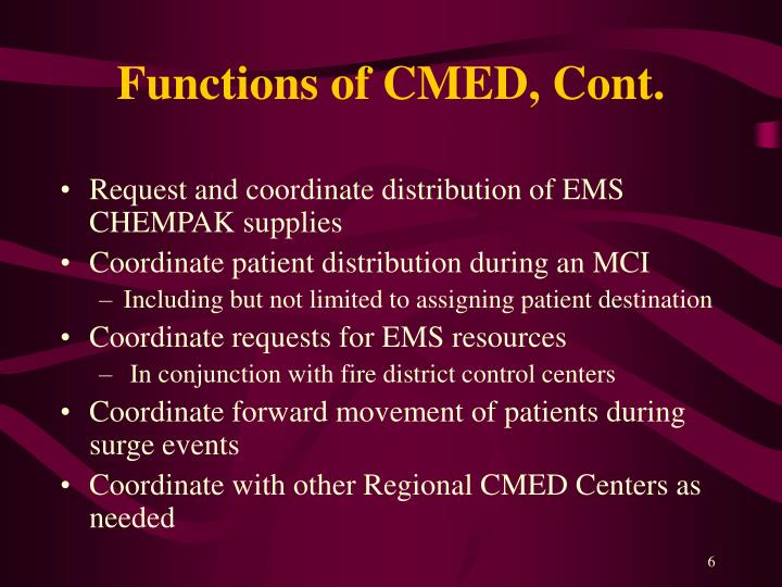 Functions of CMED, Cont.