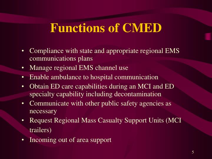 Functions of CMED