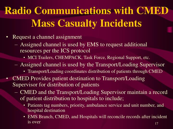 Radio Communications with CMED