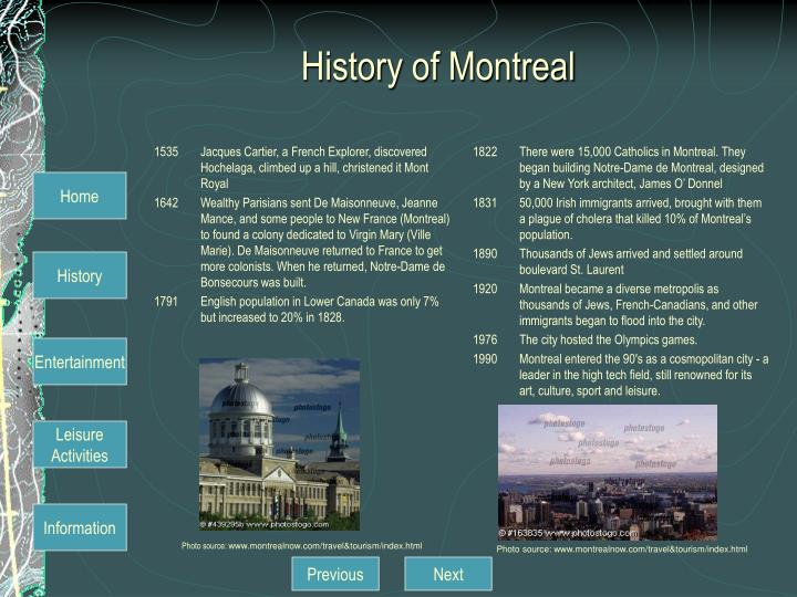 History of Montreal