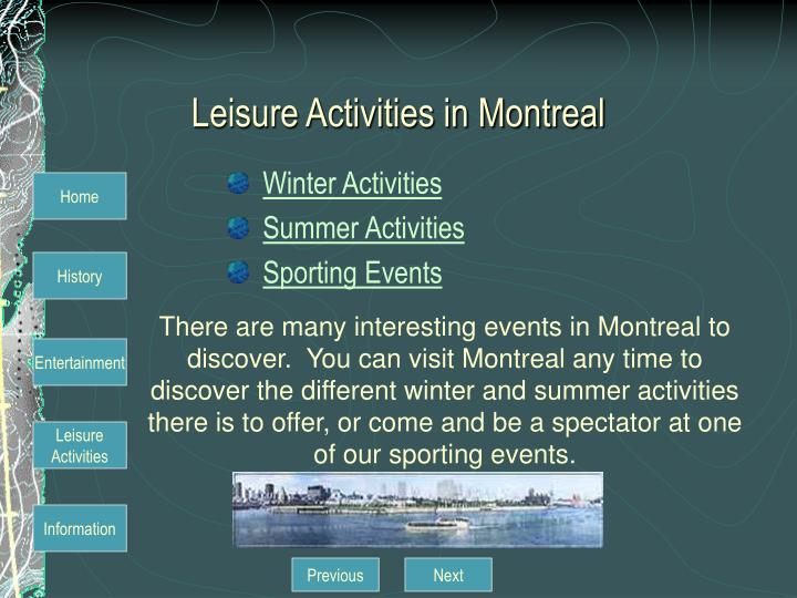 Leisure Activities in Montreal