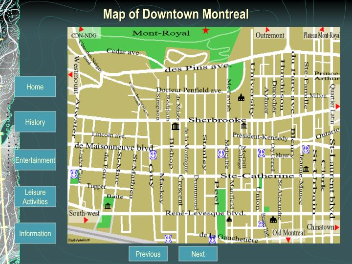 Map of Downtown Montreal