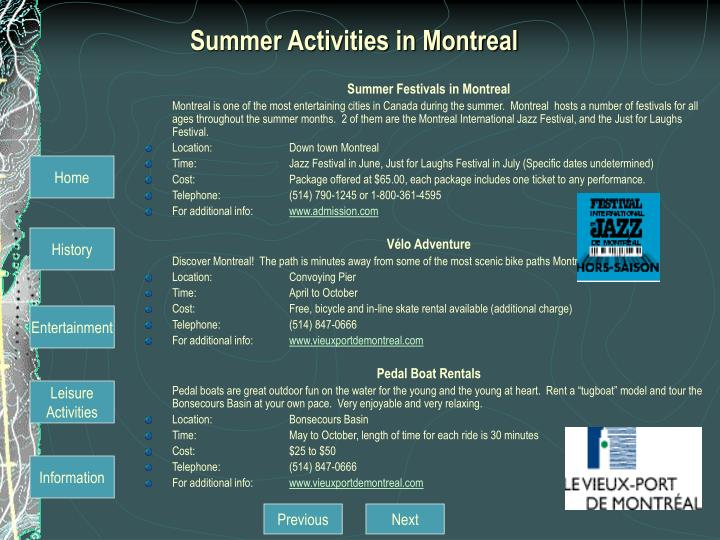 Summer Activities in Montreal