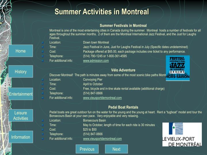 Summer Activities in Montreal