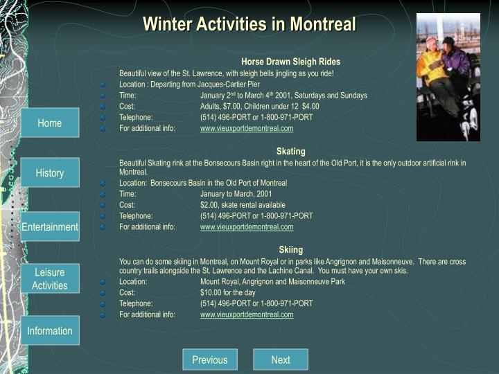 Winter Activities in Montreal
