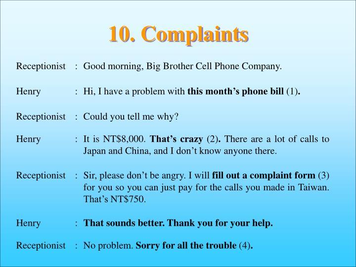 10. Complaints