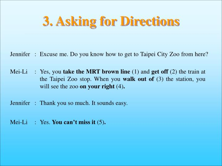3. Asking for Directions