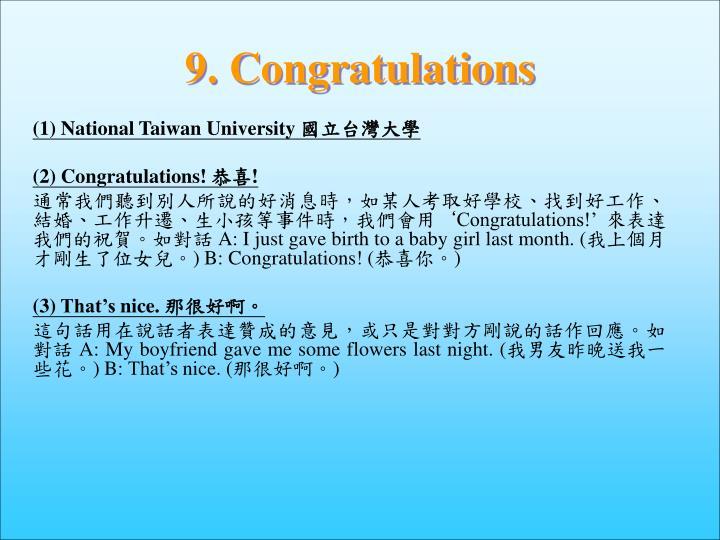 9. Congratulations