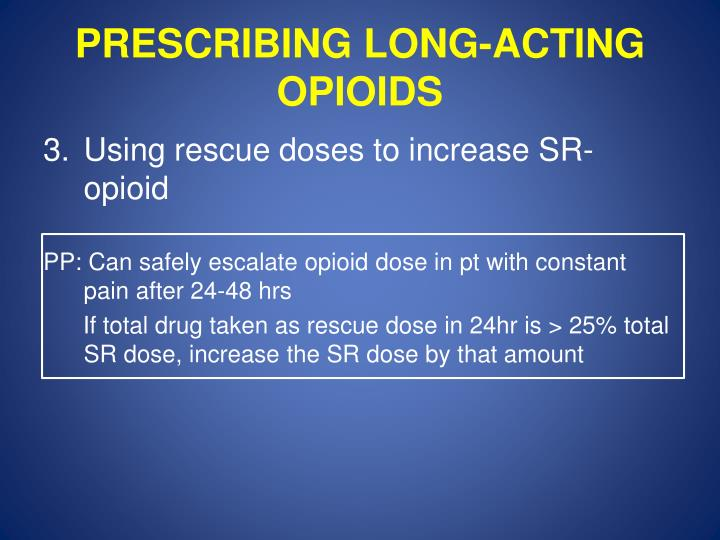 PRESCRIBING LONG-ACTING OPIOIDS
