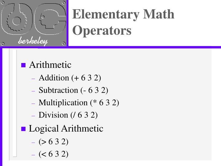 Elementary Math Operators