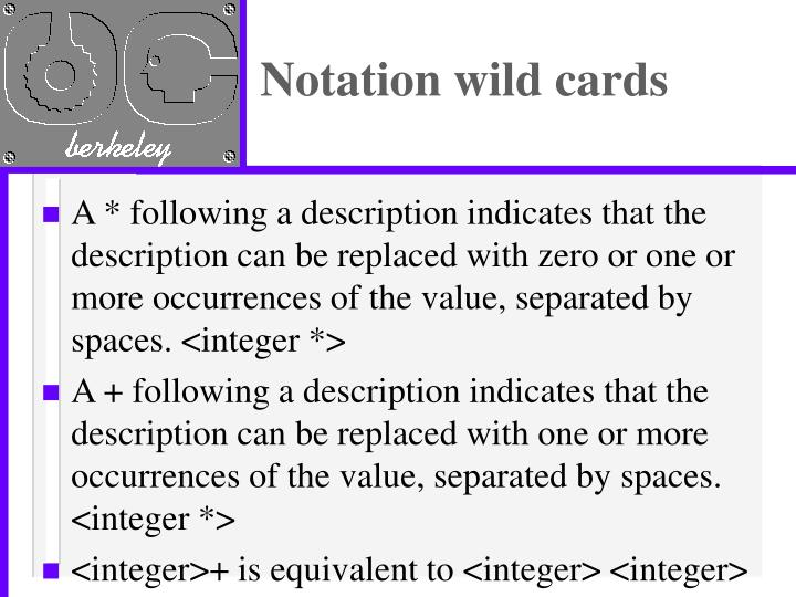 Notation wild cards