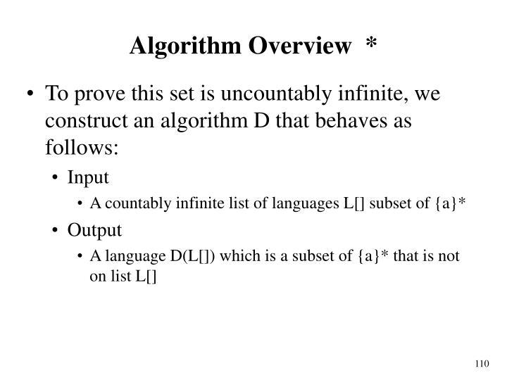 Algorithm Overview  *