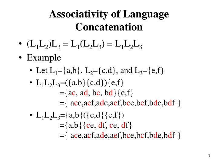 Associativity of Language Concatenation