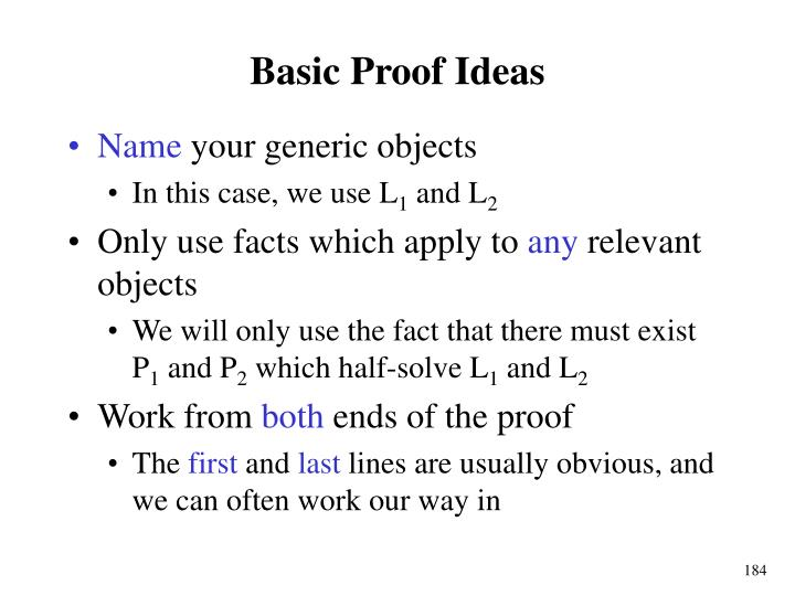 Basic Proof Ideas