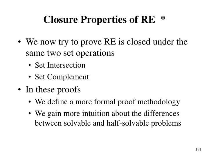 Closure Properties of RE  *