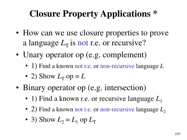 Closure Property Applications *