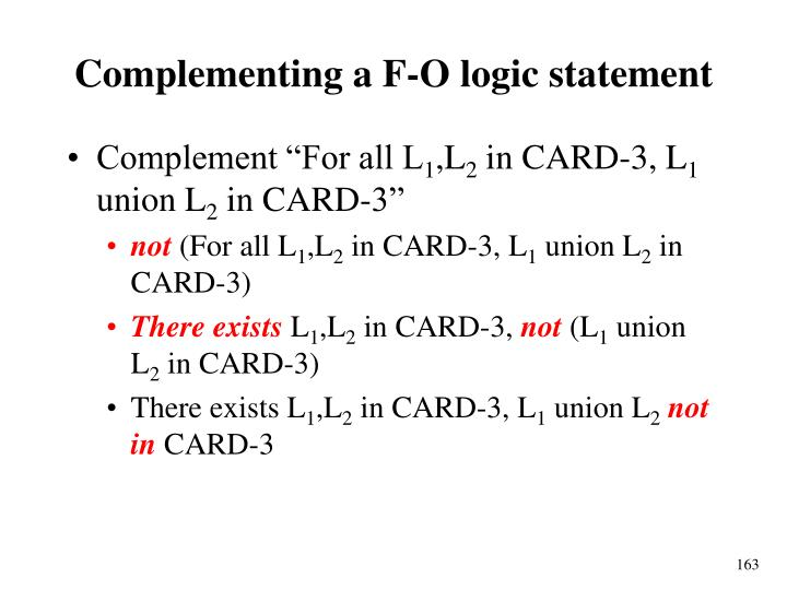Complementing a F-O logic statement