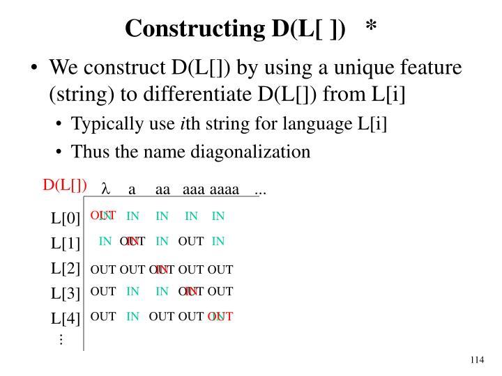 Constructing D(L[ ])   *