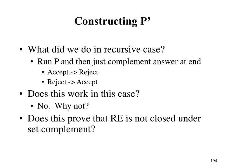 Constructing P'