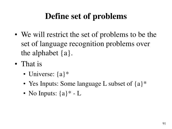 Define set of problems