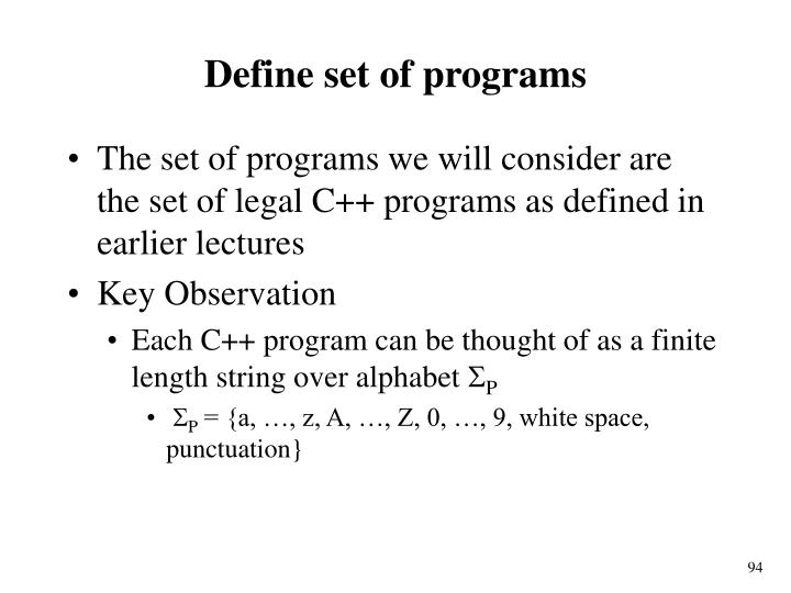 Define set of programs