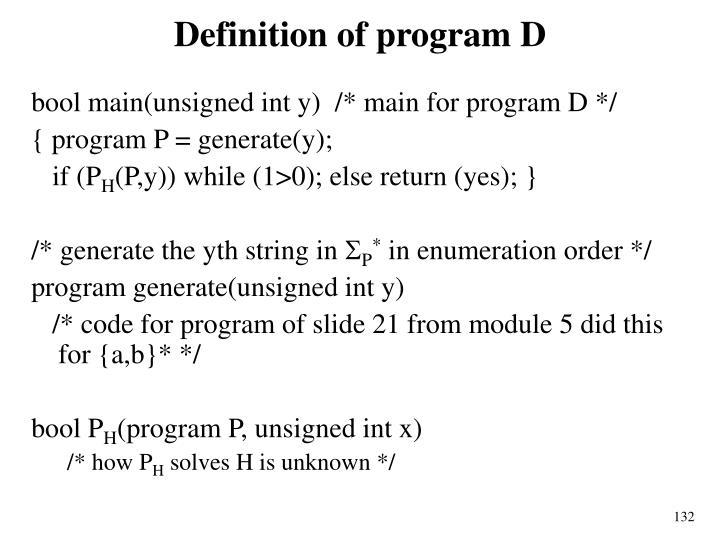 Definition of program D
