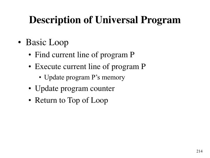 Description of Universal Program
