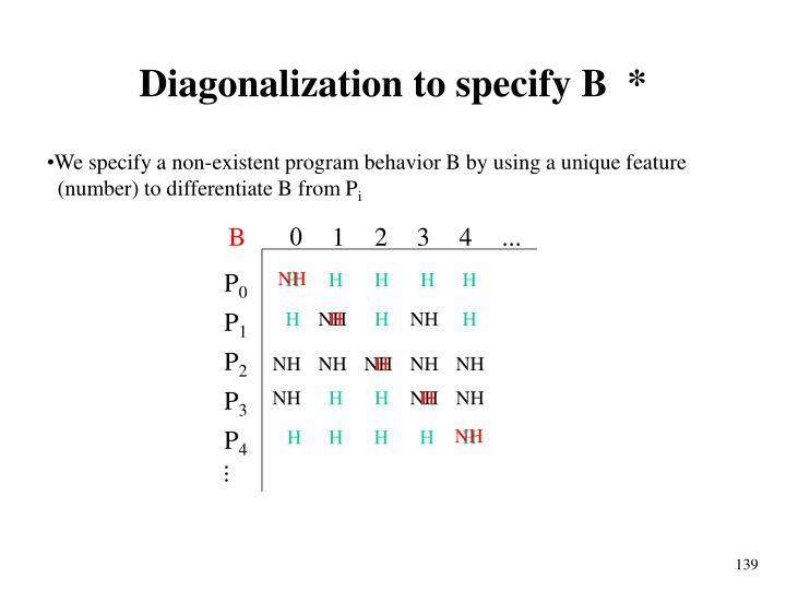 Diagonalization to specify B  *