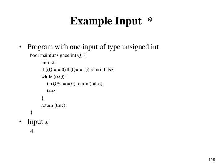 Example Input  *