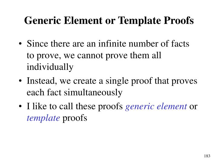 Generic Element or Template Proofs