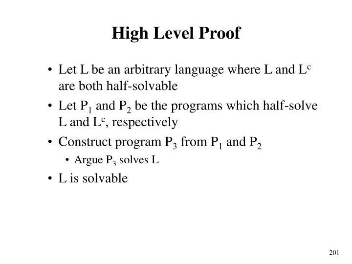 High Level Proof