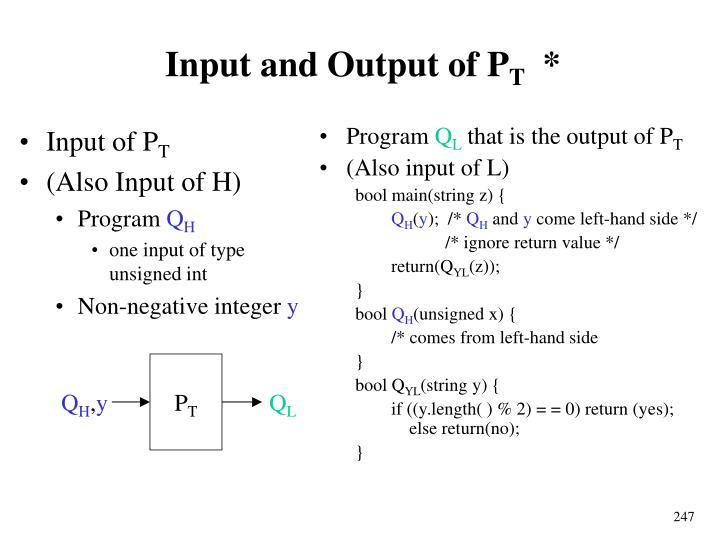 Input of P