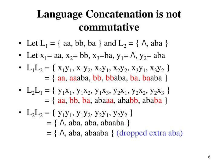 Language Concatenation is not commutative