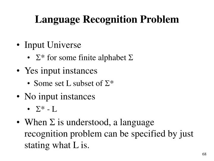 Language Recognition Problem