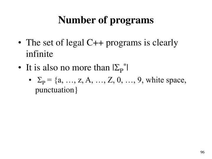 Number of programs