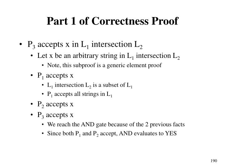 Part 1 of Correctness Proof