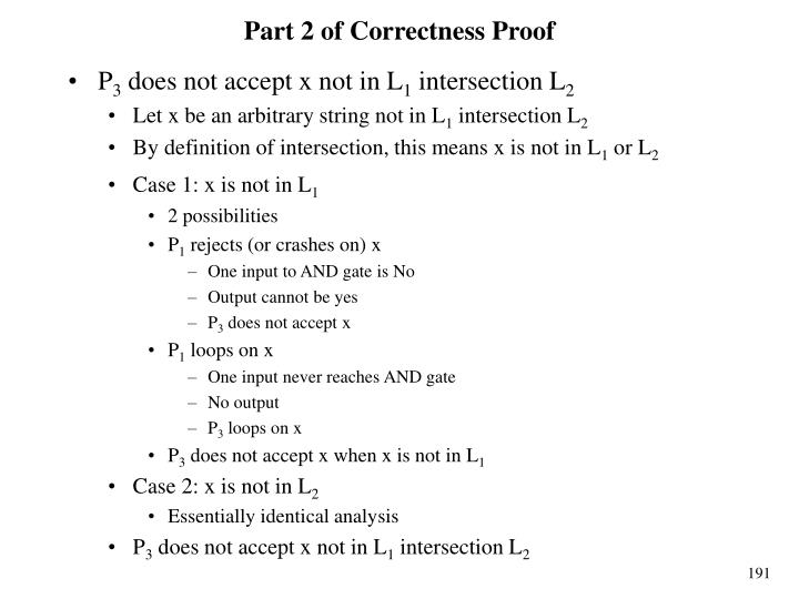 Part 2 of Correctness Proof