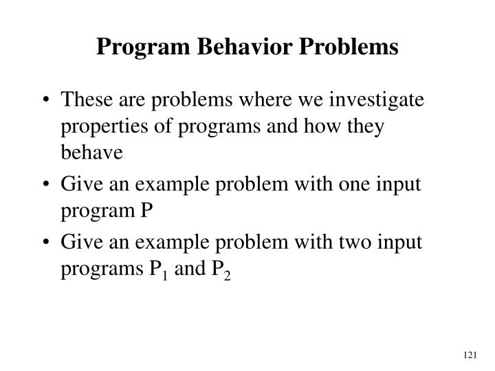 Program Behavior Problems
