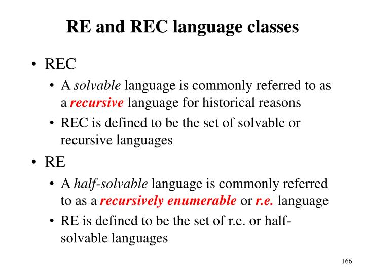 RE and REC language classes