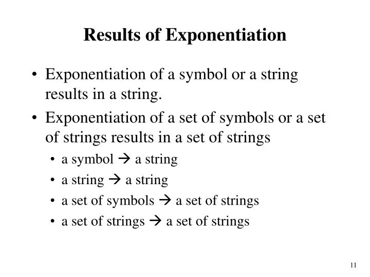Results of Exponentiation