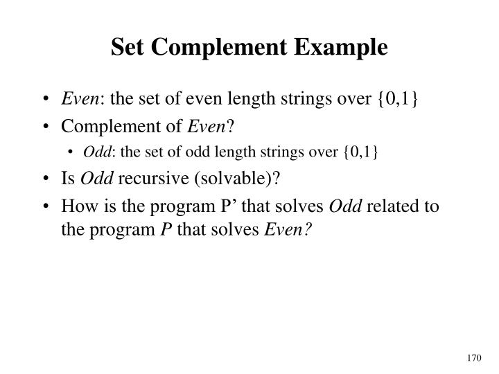 Set Complement Example