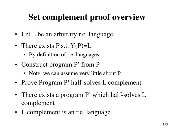 Set complement proof overview