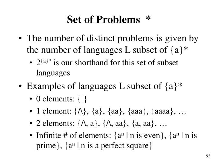 Set of Problems  *