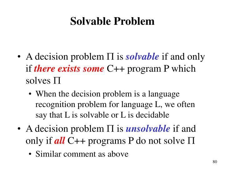Solvable Problem