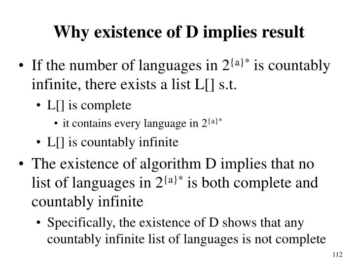 Why existence of D implies result